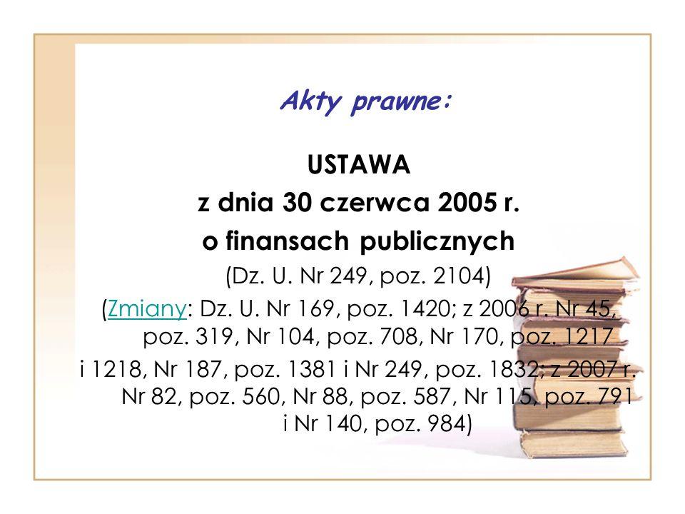 Akty prawne: USTAWA z dnia 30 czerwca 2005 r.o finansach publicznych (Dz.