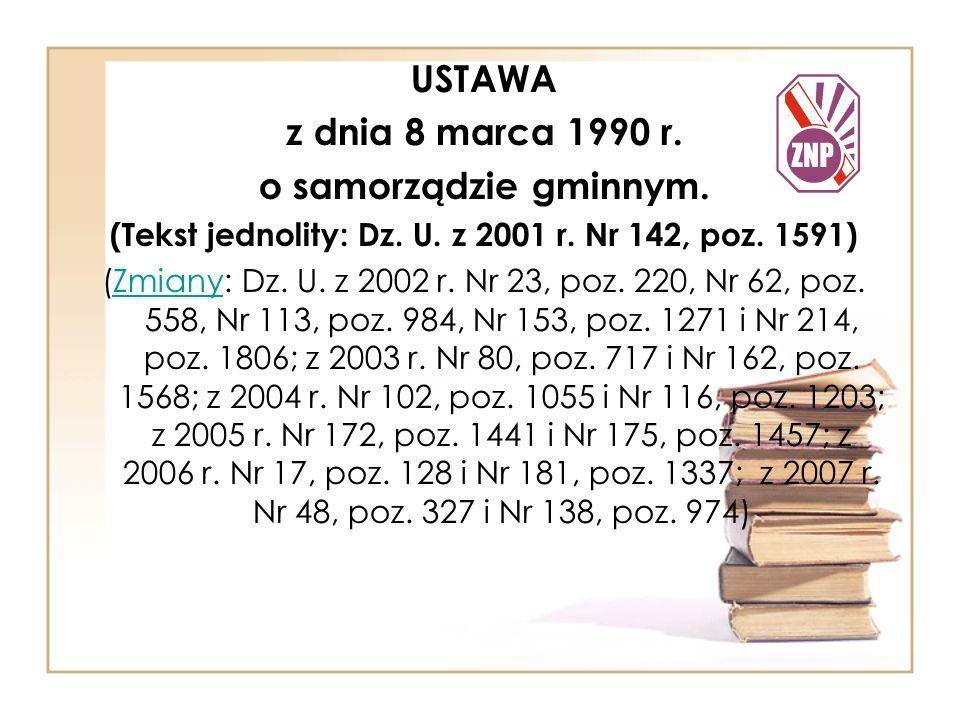 USTAWA z dnia 8 marca 1990 r.o samorządzie gminnym.