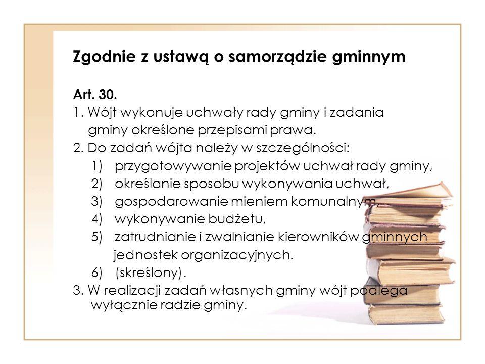 Zgodnie z ustawą o samorządzie gminnym Art.30. 1.