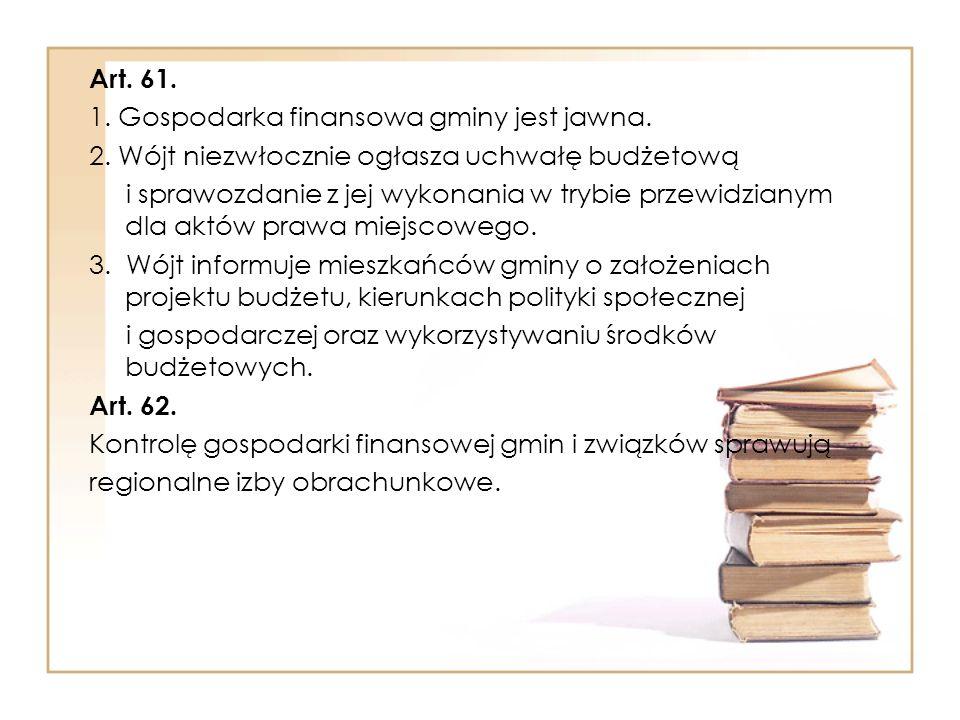 Art.61. 1. Gospodarka finansowa gminy jest jawna.
