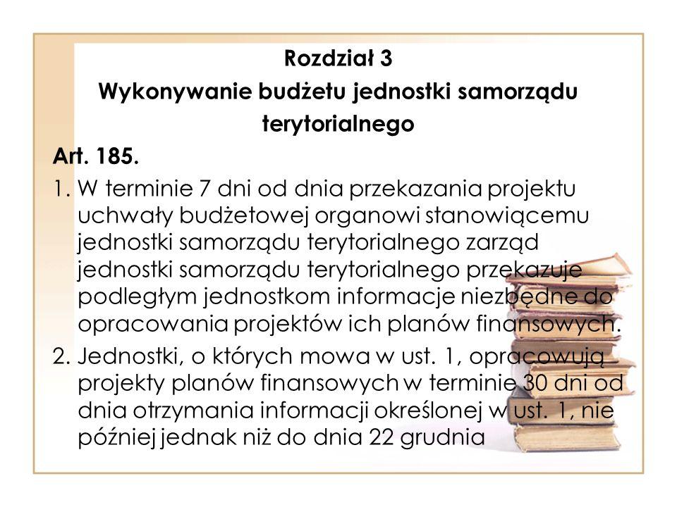 Rozdział 3 Wykonywanie budżetu jednostki samorządu terytorialnego Art.
