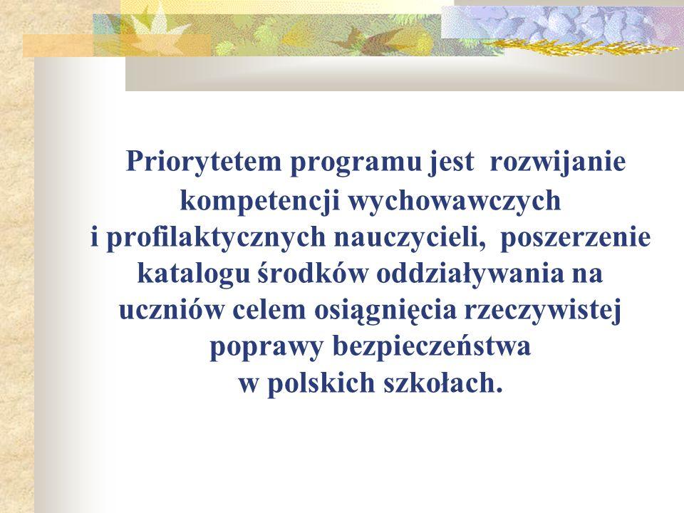 Priorytetem programu jest rozwijanie kompetencji wychowawczych i profilaktycznych nauczycieli, poszerzenie katalogu środków oddziaływania na uczniów c