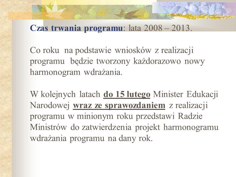 Czas trwania programu: lata 2008 – 2013. Co roku na podstawie wniosków z realizacji programu będzie tworzony każdorazowo nowy harmonogram wdrażania. W