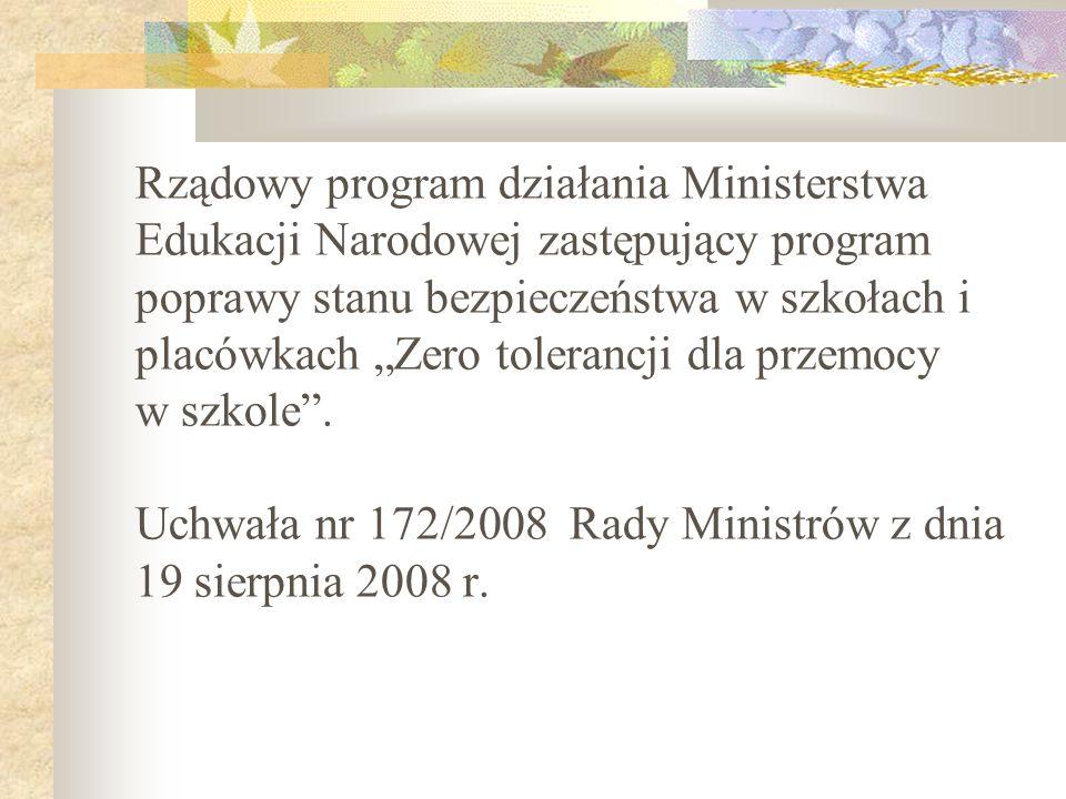 Rządowy program działania Ministerstwa Edukacji Narodowej zastępujący program poprawy stanu bezpieczeństwa w szkołach i placówkach Zero tolerancji dla
