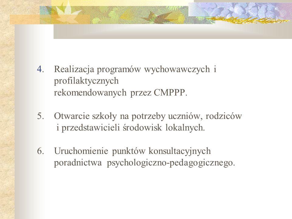 4. Realizacja programów wychowawczych i profilaktycznych rekomendowanych przez CMPPP. 5. Otwarcie szkoły na potrzeby uczniów, rodziców i przedstawicie