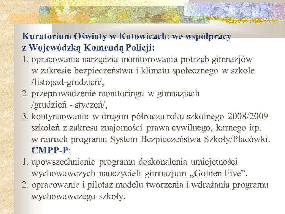 Kuratorium Oświaty w Katowicach: we współpracy z Wojewódzką Komendą Policji: 1. opracowanie narzędzia monitorowania potrzeb gimnazjów w zakresie bezpi