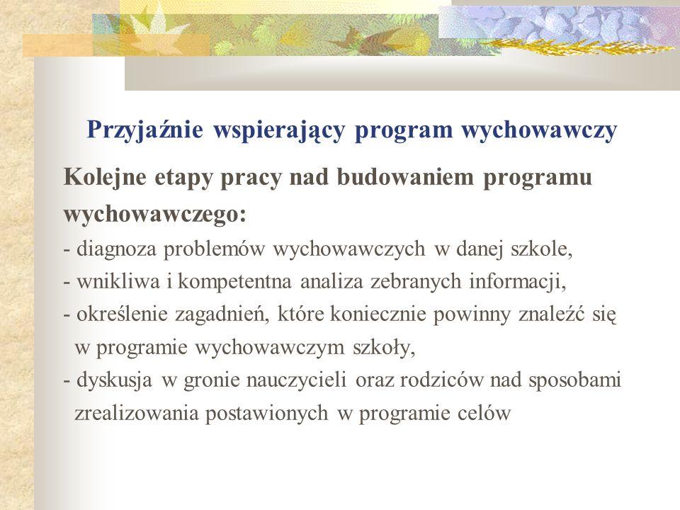 Przyjaźnie wspierający program wychowawczy Kolejne etapy pracy nad budowaniem programu wychowawczego: - diagnoza problemów wychowawczych w danej szkol