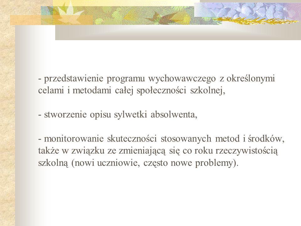 - przedstawienie programu wychowawczego z określonymi celami i metodami całej społeczności szkolnej, - stworzenie opisu sylwetki absolwenta, - monitor