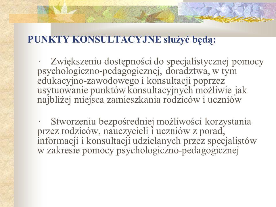 PUNKTY KONSULTACYJNE służyć będą: · Zwiększeniu dostępności do specjalistycznej pomocy psychologiczno-pedagogicznej, doradztwa, w tym edukacyjno-zawod