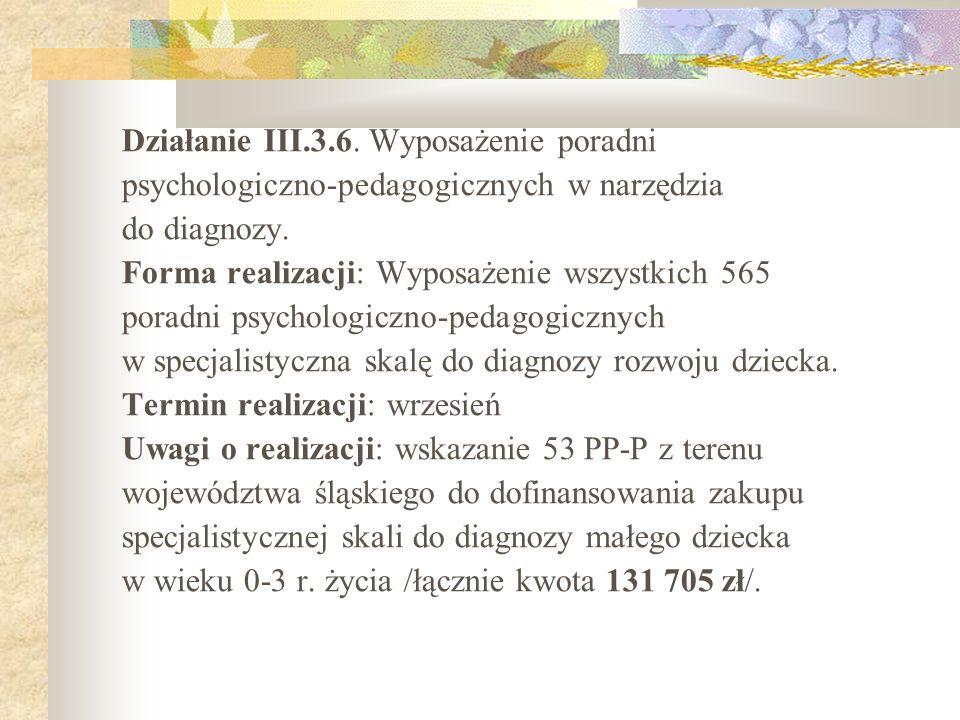 Działanie III.3.6. Wyposażenie poradni psychologiczno-pedagogicznych w narzędzia do diagnozy. Forma realizacji: Wyposażenie wszystkich 565 poradni psy