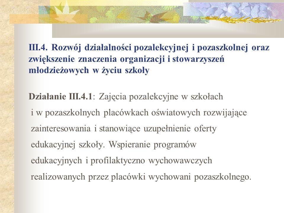 III.4. Rozwój działalności pozalekcyjnej i pozaszkolnej oraz zwiększenie znaczenia organizacji i stowarzyszeń młodzieżowych w życiu szkoły Działanie I