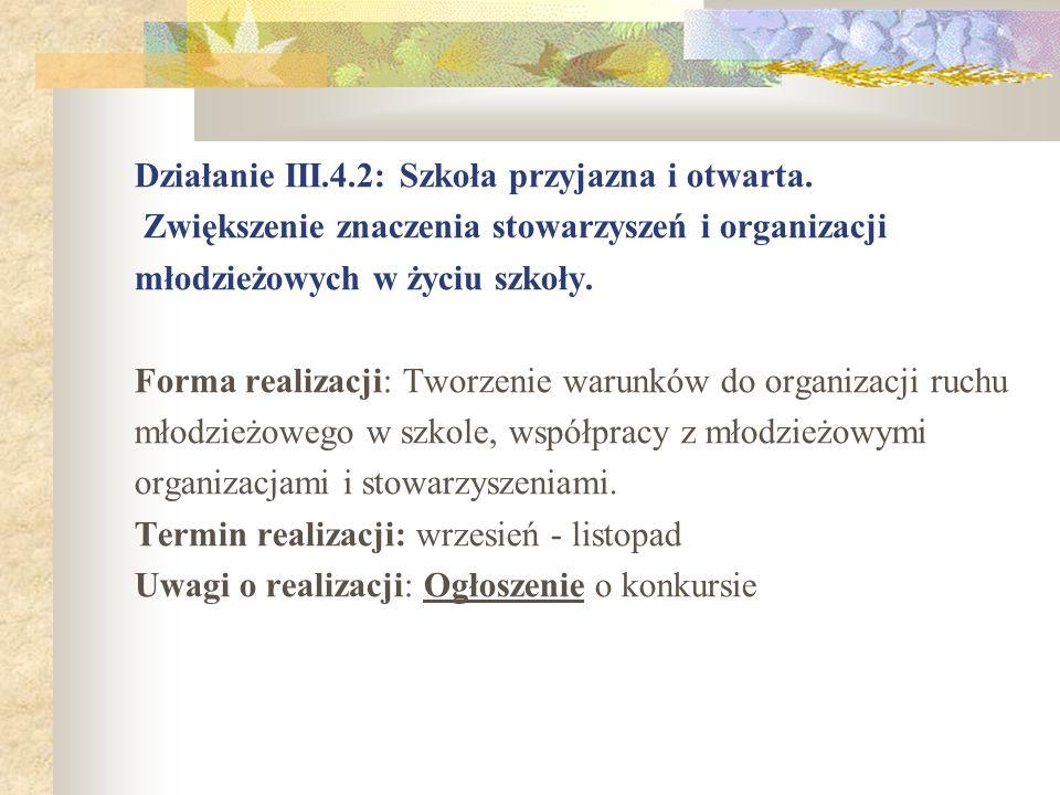 Działanie III.4.2: Szkoła przyjazna i otwarta. Zwiększenie znaczenia stowarzyszeń i organizacji młodzieżowych w życiu szkoły. Forma realizacji: Tworze