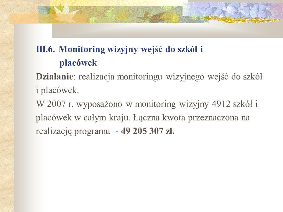 III.6. Monitoring wizyjny wejść do szkół i placówek Działanie: realizacja monitoringu wizyjnego wejść do szkół i placówek. W 2007 r. wyposażono w moni