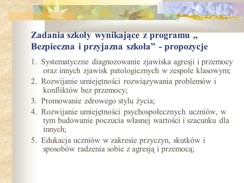 Zadania szkoły wynikające z programu Bezpieczna i przyjazna szkoła - propozycje 1. Systematyczne diagnozowanie zjawiska agresji i przemocy oraz innych