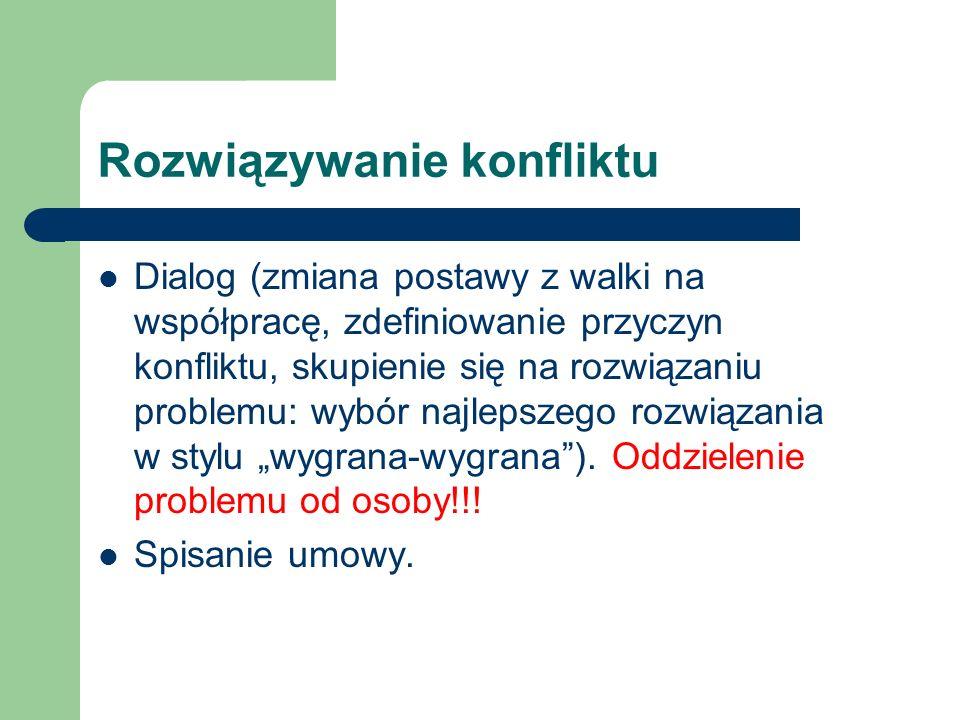 Rozwiązywanie konfliktu Dialog (zmiana postawy z walki na współpracę, zdefiniowanie przyczyn konfliktu, skupienie się na rozwiązaniu problemu: wybór n