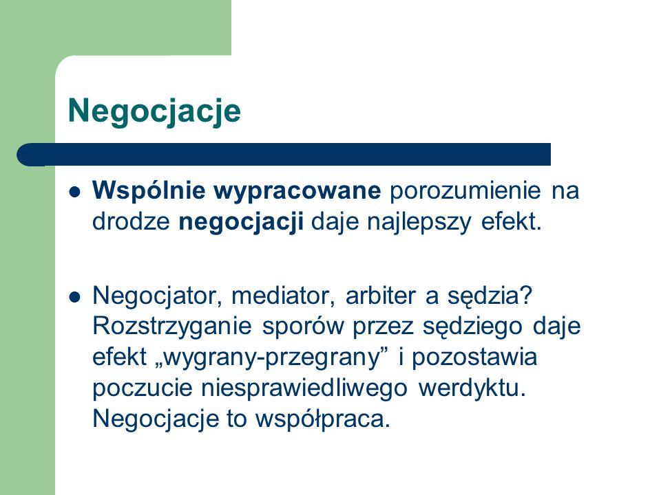Negocjacje Wspólnie wypracowane porozumienie na drodze negocjacji daje najlepszy efekt. Negocjator, mediator, arbiter a sędzia? Rozstrzyganie sporów p