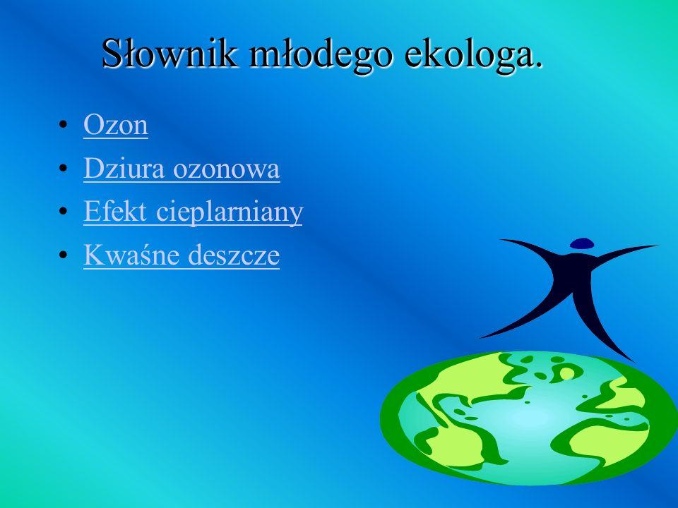 Słownik młodego ekologa. Ozon Dziura ozonowa Efekt cieplarniany Kwaśne deszcze