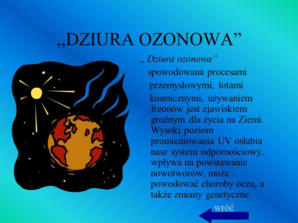 ,,DZIURA OZONOWA,, Dziura ozonowa spowodowana procesami przemysłowymi, lotami kosmicznymi, używaniem freonów jest zjawiskiem groźnym dla życia na Ziem