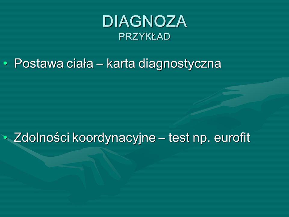 DIAGNOZA PRZYKŁAD Postawa ciała – karta diagnostycznaPostawa ciała – karta diagnostyczna Zdolności koordynacyjne – test np. eurofitZdolności koordynac