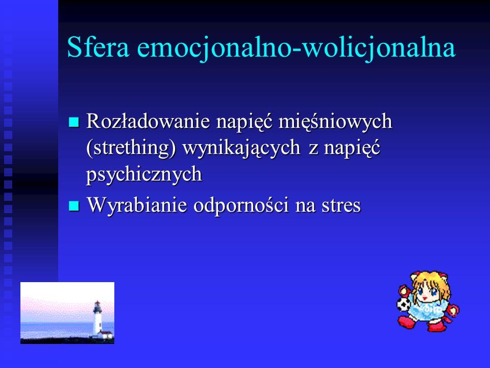Sfera emocjonalno-wolicjonalna Rozładowanie napięć mięśniowych (strething) wynikających z napięć psychicznych Rozładowanie napięć mięśniowych (strethi
