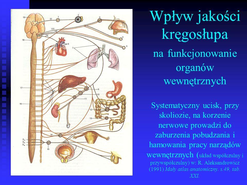 Wpływ jakości kręgosłupa na funkcjonowanie organów wewnętrznych Systematyczny ucisk, przy skoliozie, na korzenie nerwowe prowadzi do zaburzenia pobudz