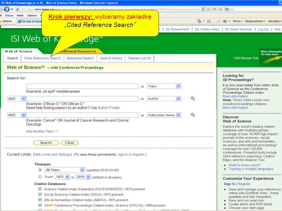 Krok pierwszy: wybieramy zakładkęCited Reference Search