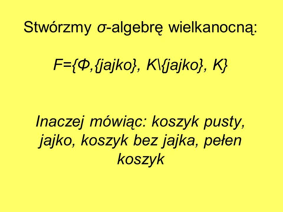 Stwórzmy σ-algebrę wielkanocną: F={Φ,{jajko}, K\{jajko}, K} Inaczej mówiąc: koszyk pusty, jajko, koszyk bez jajka, pełen koszyk