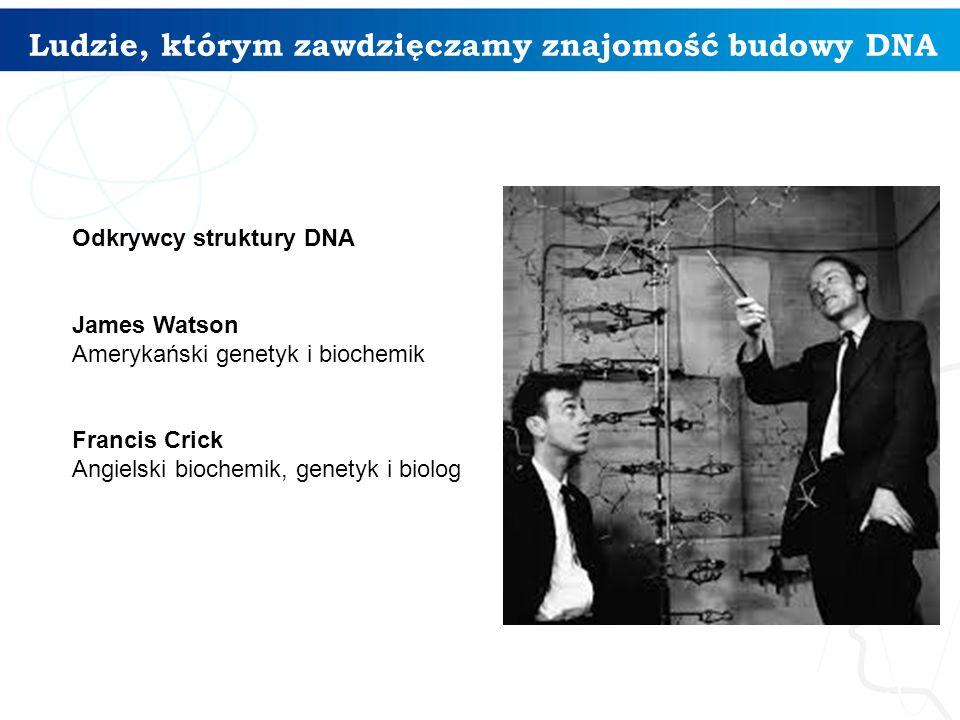 Ludzie, którym zawdzięczamy znajomość budowy DNA 5 Odkrywcy struktury DNA James Watson Amerykański genetyk i biochemik Francis Crick Angielski biochem