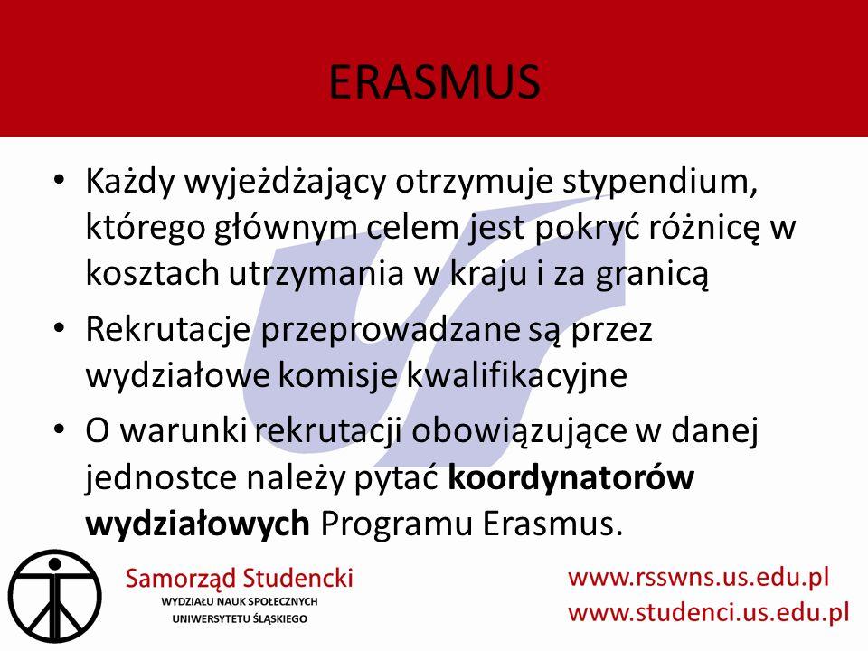 ERASMUS Każdy wyjeżdżający otrzymuje stypendium, którego głównym celem jest pokryć różnicę w kosztach utrzymania w kraju i za granicą Rekrutacje przep
