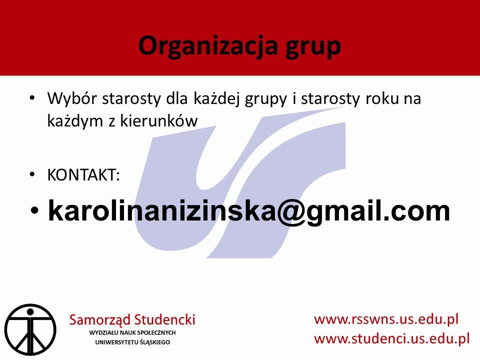 Organizacja grup Wybór starosty dla każdej grupy i starosty roku na każdym z kierunków KONTAKT: karolinanizinska@gmail.com