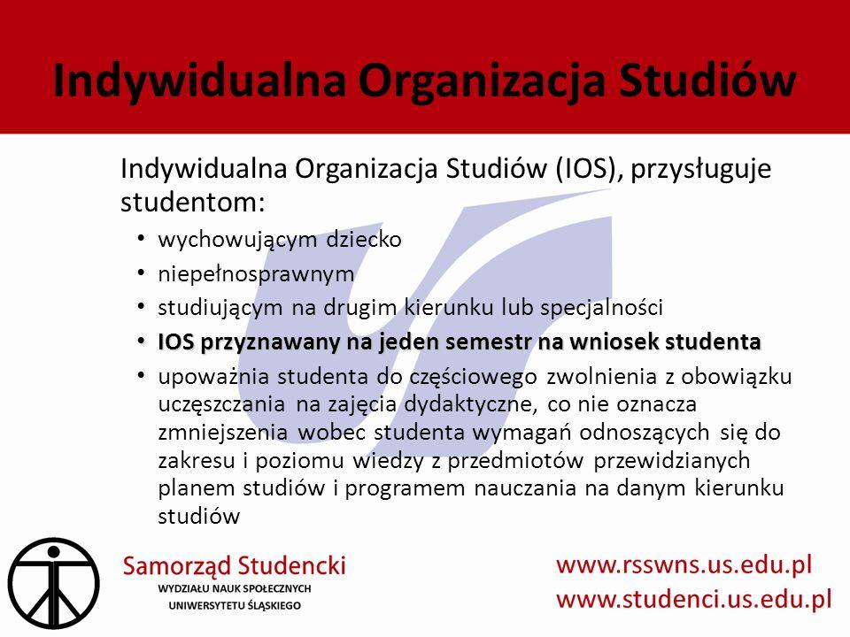 Indywidualna Organizacja Studiów Indywidualna Organizacja Studiów (IOS), przysługuje studentom: wychowującym dziecko niepełnosprawnym studiującym na d