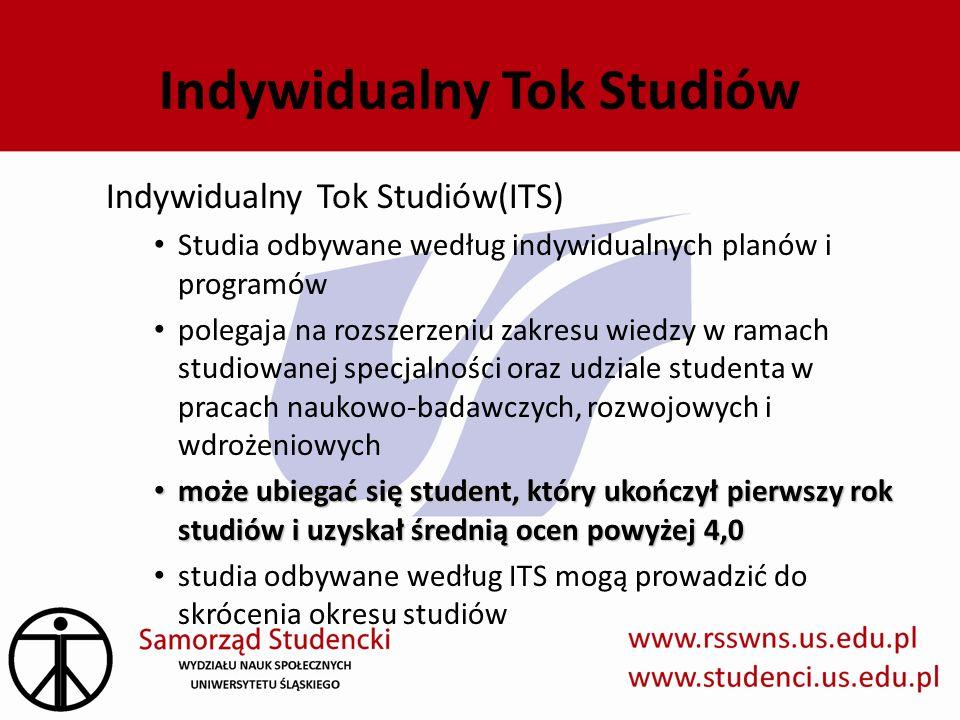 Indywidualny Tok Studiów Indywidualny Tok Studiów(ITS) Studia odbywane według indywidualnych planów i programów polegaja na rozszerzeniu zakresu wiedz