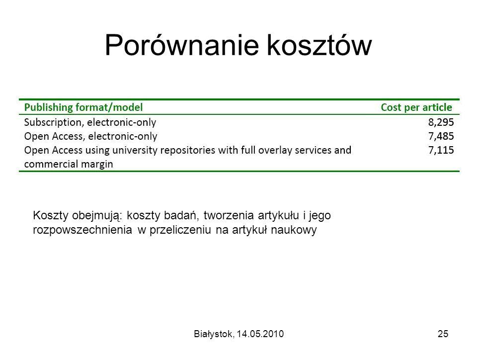 Białystok, 14.05.201025 Porównanie kosztów Koszty obejmują: koszty badań, tworzenia artykułu i jego rozpowszechnienia w przeliczeniu na artykuł naukowy