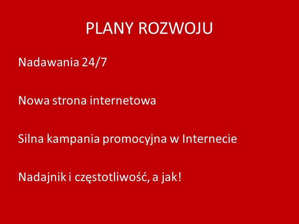 PLANY ROZWOJU Nadawania 24/7 Nowa strona internetowa Silna kampania promocyjna w Internecie Nadajnik i częstotliwość, a jak!