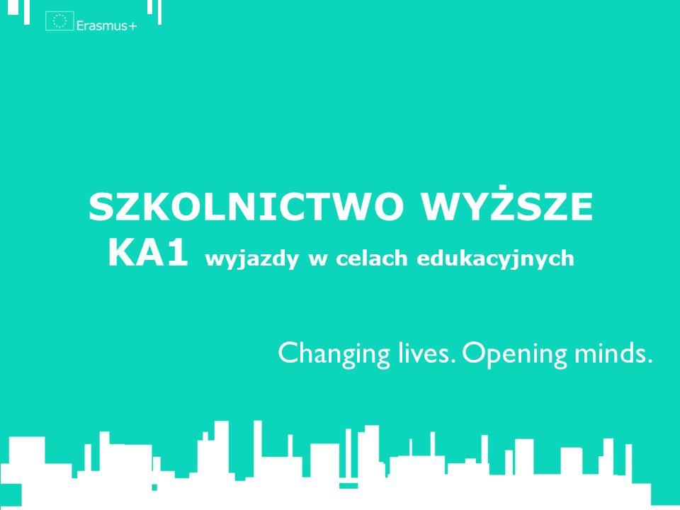 SZKOLNICTWO WYŻSZE – AKCJA 1 – KA1 Działania wymienione w Przewodniku programu: Mobilność studentów i pracowników uczelni (Mobility for learners and staff) (credit mobility).