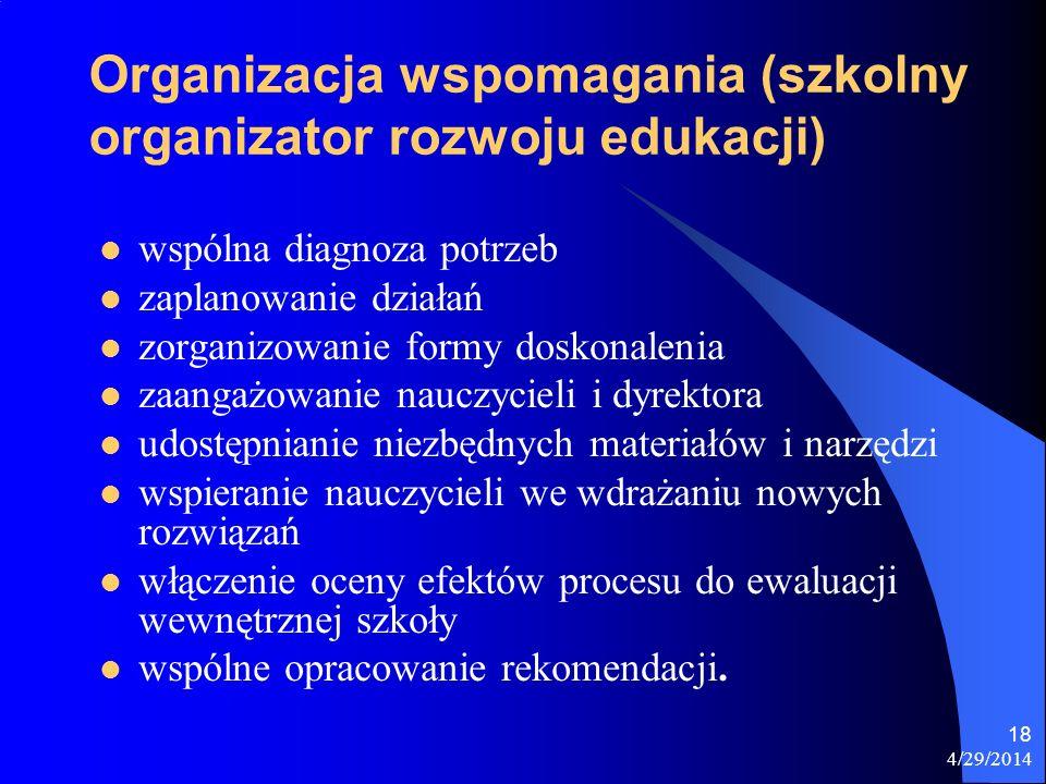 4/29/2014 18 Organizacja wspomagania (szkolny organizator rozwoju edukacji) wspólna diagnoza potrzeb zaplanowanie działań zorganizowanie formy doskona