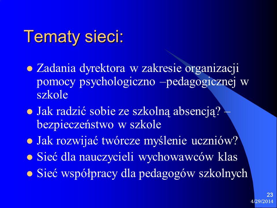 4/29/2014 23 Tematy sieci: Zadania dyrektora w zakresie organizacji pomocy psychologiczno –pedagogicznej w szkole Jak radzić sobie ze szkolną absencją