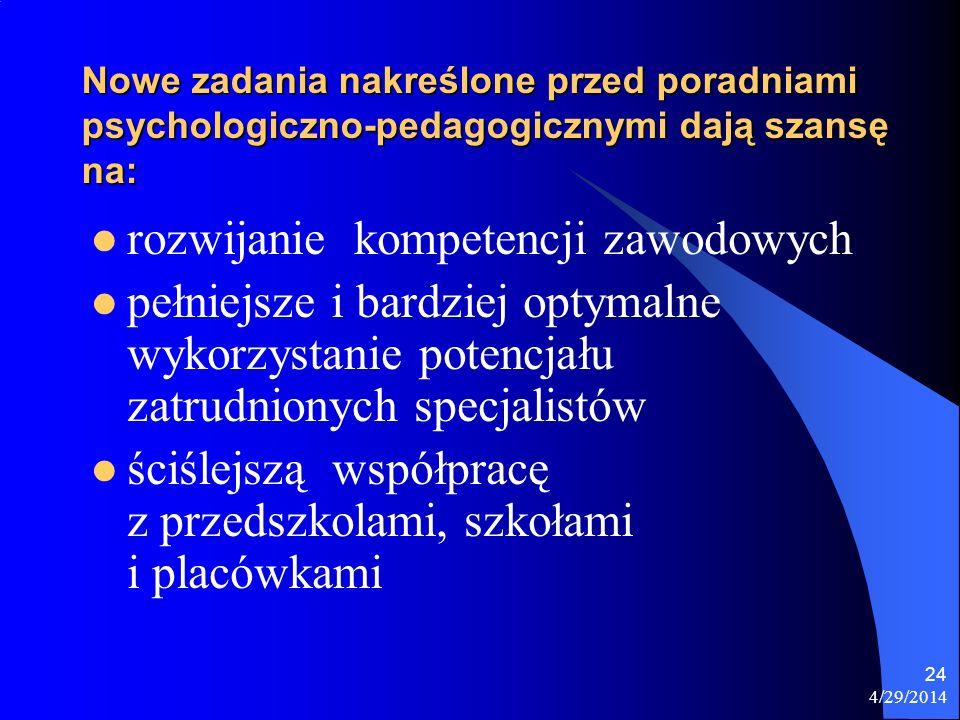 4/29/2014 24 Nowe zadania nakreślone przed poradniami psychologiczno-pedagogicznymi dają szansę na: rozwijanie kompetencji zawodowych pełniejsze i bar