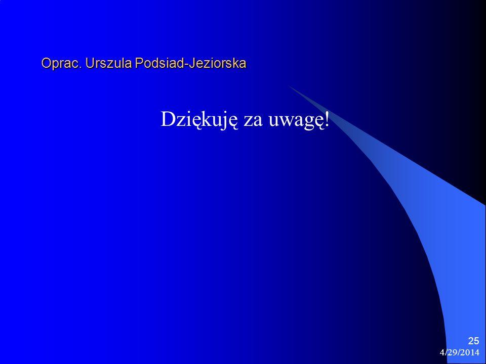 4/29/2014 25 Oprac. Urszula Podsiad-Jeziorska Dziękuję za uwagę!