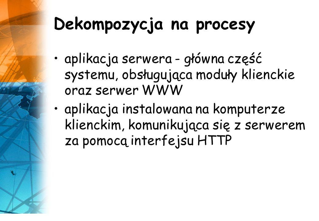 Dekompozycja na procesy aplikacja serwera - główna część systemu, obsługująca moduły klienckie oraz serwer WWW aplikacja instalowana na komputerze kli