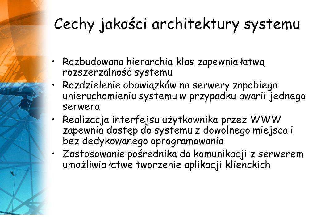 Cechy jakości architektury systemu Rozbudowana hierarchia klas zapewnia łatwą rozszerzalność systemu Rozdzielenie obowiązków na serwery zapobiega unie