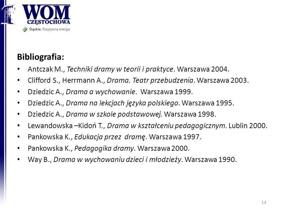 Bibliografia: Antczak M., Techniki dramy w teorii i praktyce. Warszawa 2004. Clifford S., Herrmann A., Drama. Teatr przebudzenia. Warszawa 2003. Dzied