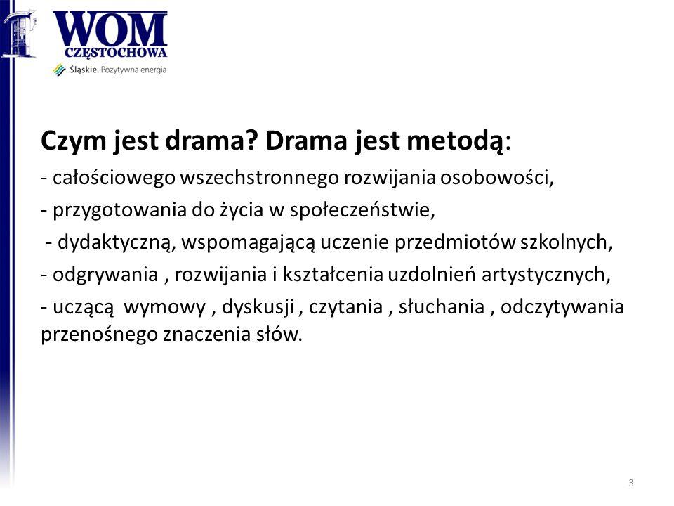Czym jest drama? Drama jest metodą: - całościowego wszechstronnego rozwijania osobowości, - przygotowania do życia w społeczeństwie, - dydaktyczną, ws