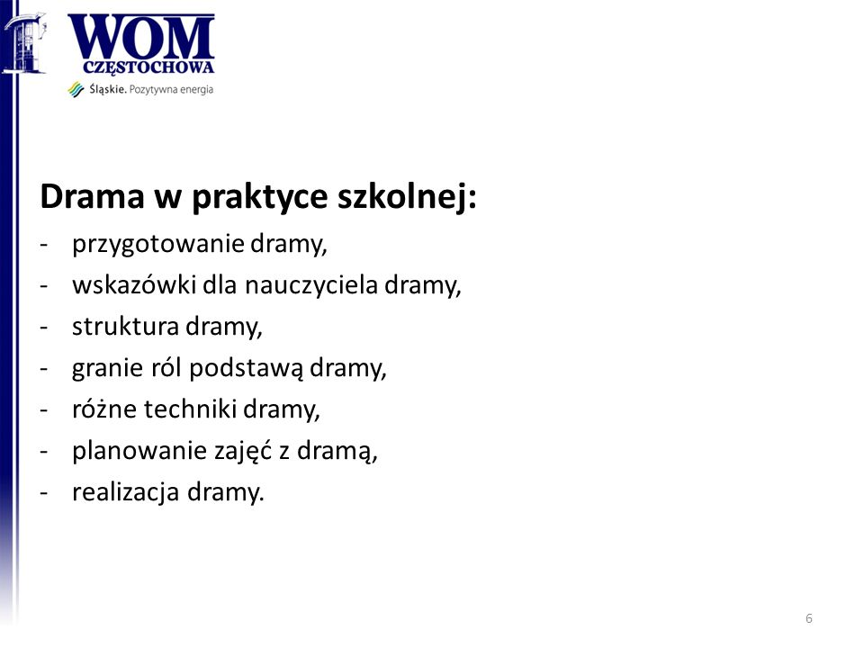 Drama w praktyce szkolnej: -przygotowanie dramy, -wskazówki dla nauczyciela dramy, -struktura dramy, -granie ról podstawą dramy, -różne techniki dramy
