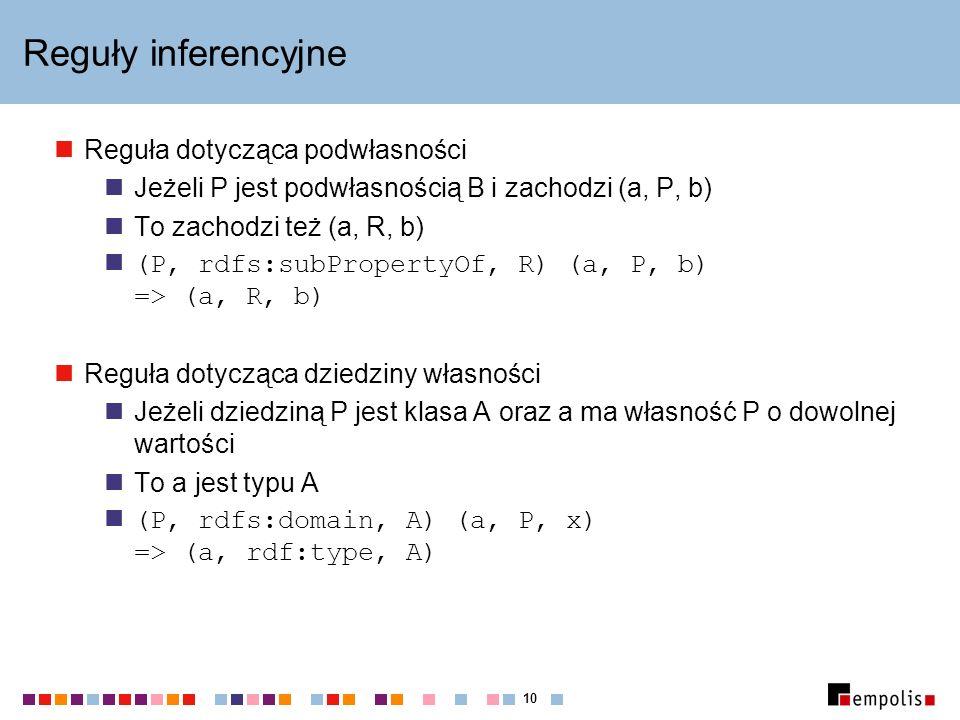 10 Reguły inferencyjne Reguła dotycząca podwłasności Jeżeli P jest podwłasnością B i zachodzi (a, P, b) To zachodzi też (a, R, b) (P, rdfs:subPropertyOf, R) (a, P, b) => (a, R, b) Reguła dotycząca dziedziny własności Jeżeli dziedziną P jest klasa A oraz a ma własność P o dowolnej wartości To a jest typu A (P, rdfs:domain, A) (a, P, x) => (a, rdf:type, A)