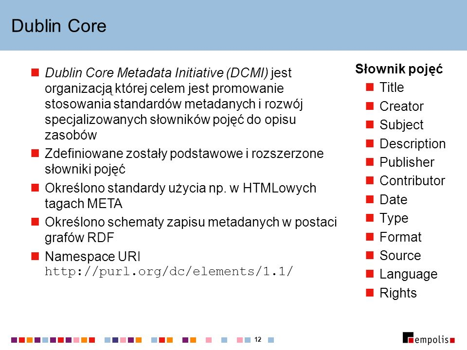 12 Dublin Core Słownik pojęć Title Creator Subject Description Publisher Contributor Date Type Format Source Language Rights Dublin Core Metadata Init