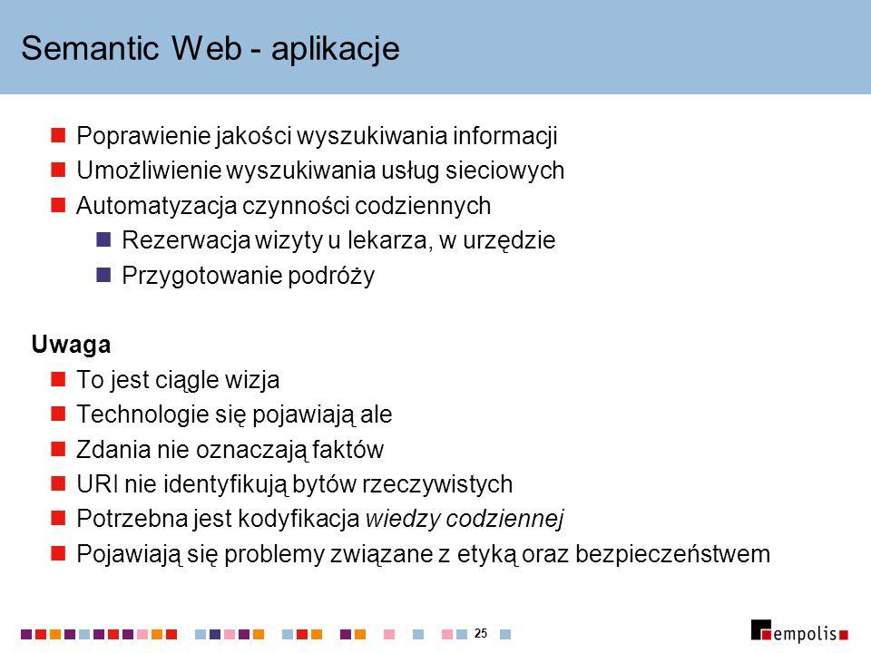25 Semantic Web - aplikacje Poprawienie jakości wyszukiwania informacji Umożliwienie wyszukiwania usług sieciowych Automatyzacja czynności codziennych Rezerwacja wizyty u lekarza, w urzędzie Przygotowanie podróży Uwaga To jest ciągle wizja Technologie się pojawiają ale Zdania nie oznaczają faktów URI nie identyfikują bytów rzeczywistych Potrzebna jest kodyfikacja wiedzy codziennej Pojawiają się problemy związane z etyką oraz bezpieczeństwem