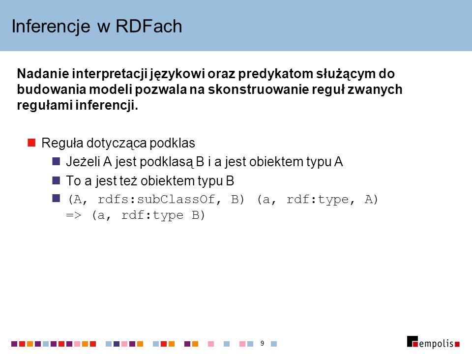 9 Inferencje w RDFach Nadanie interpretacji językowi oraz predykatom służącym do budowania modeli pozwala na skonstruowanie reguł zwanych regułami inferencji.