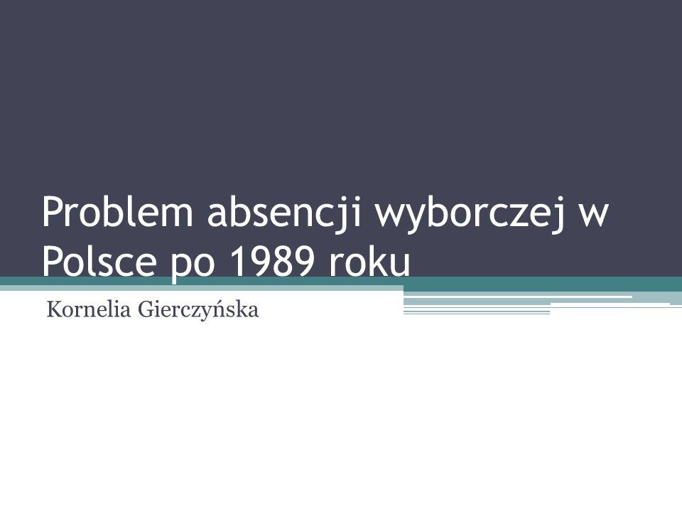 Problem absencji wyborczej w Polsce po 1989 roku Kornelia Gierczyńska