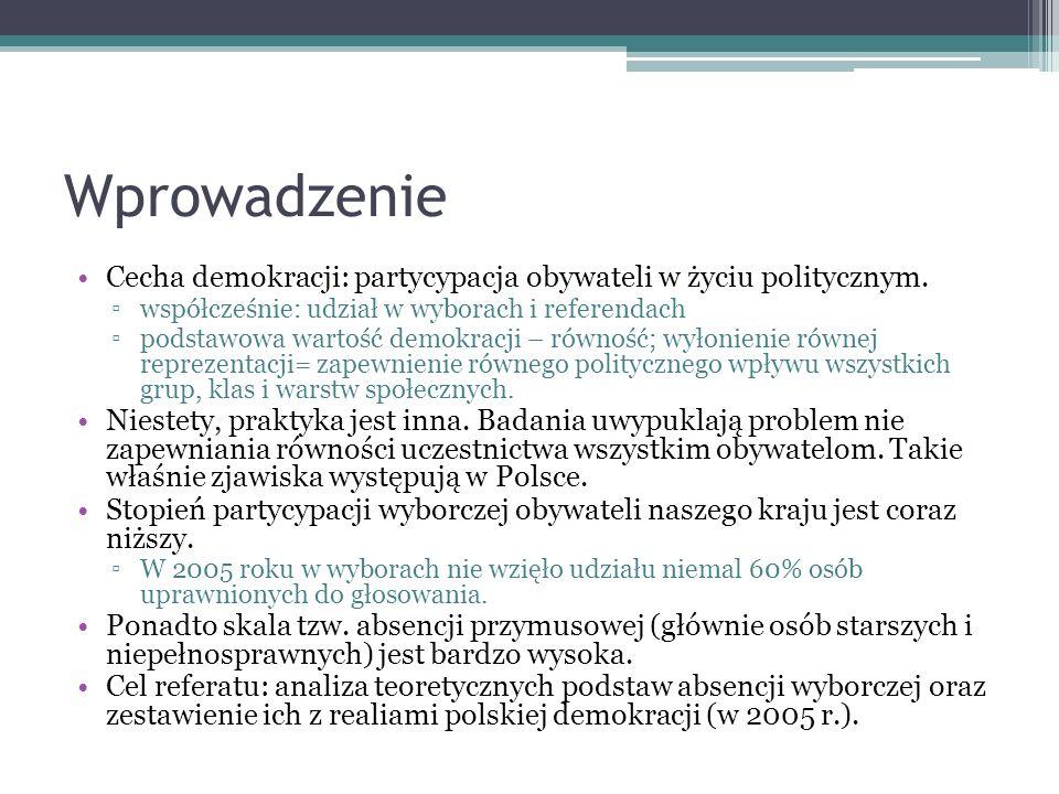 Wprowadzenie Cecha demokracji: partycypacja obywateli w życiu politycznym. współcześnie: udział w wyborach i referendach podstawowa wartość demokracji